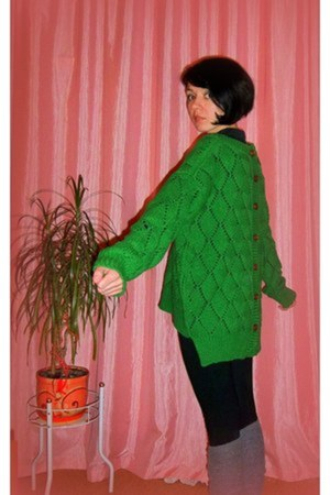 dark green knitted cotton textile Arts jumper