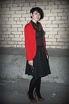 red knitted Rinaschimento jacket - dark brown cotton Northland shirt