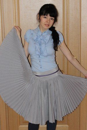 sky blue cotton a bow imperial shirt - silver pleatingsingula imperial skirt