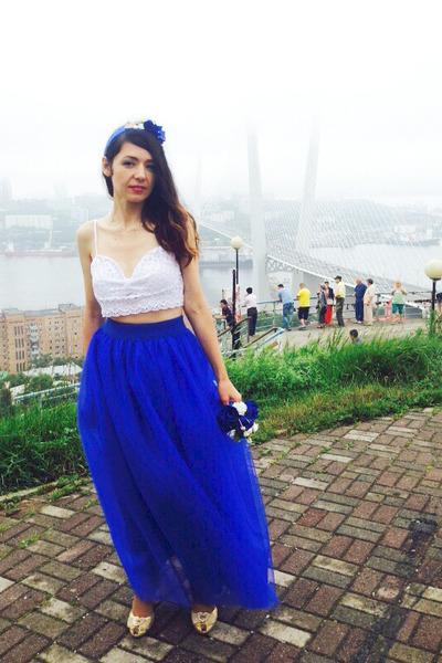 blue handmade skirt - white no brand top - blue handmade hair accessory
