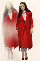 red Clasna coat - red Sk house skirt - white no brand blouse