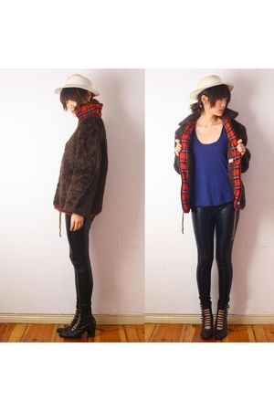 vintage coat - aa t-shirt - Express pants