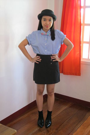 black local dept store hat - blue Talbot shirt - thrifted skirt - black thrifted