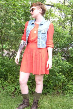 Urban Outfitters dress - vintage sunglasses - banana republic vest