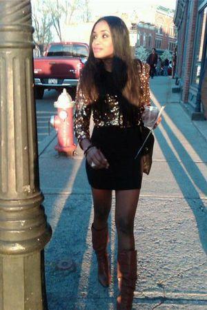 H&M blazer - black H&M dress - brown Steve Madden boots