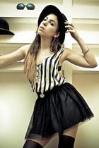 stripes Complot shirt - tulle H&M shirt - fedora H&M hat - black Topshop tights