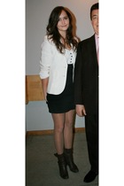 white Ralph Lauren jacket - white Topshop blouse - black Topshop skirt - black t