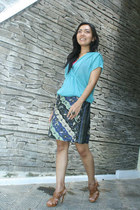 blue batik Batik skirt - aquamarine loose second skin blouse