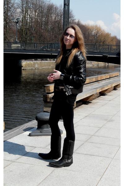 black h m jackets black ts shirts black tights black