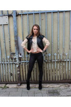 black leather vest - black boots - black H&M leggings - neutral H&M blouse