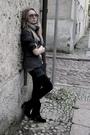 Gray-scarf-gray-t-shirt-gray-jacket-blue-shorts-black-tights-black-boo