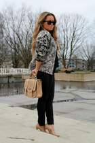 H&M jacket - faux leather new look bag - black Mango pants - black Zara blouse