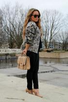 H&M jacket - faux leather new look bag - black Mango pants - black Zara blouse