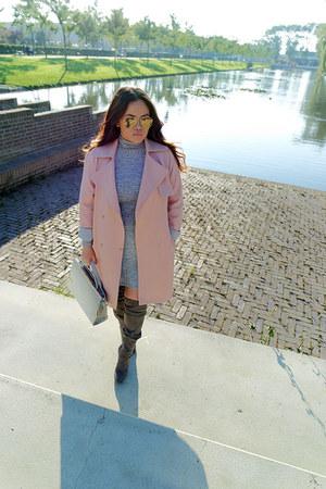 trench coat Topshop coat - new look boots - ribbed Bershka dress
