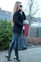 leatherlook H&M bag - cable knit Zara jumper - leatherlook Bershka pants