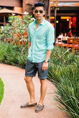 black McCabe watch - brown sperry shoes - aquamarine H&M shirt