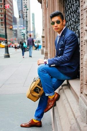 navy double breast H&M blazer - dark brown mercanti fiorentini shoes