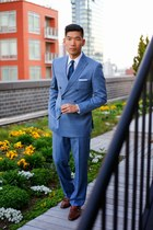 navy Combatant Gentlemen suit - dark brown mercanti fiorentini shoes