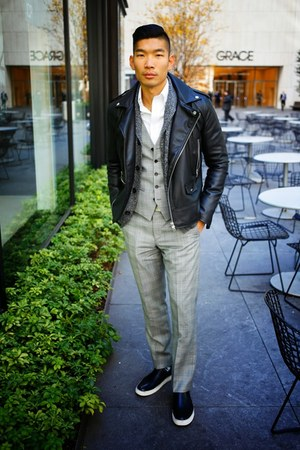 black leather Zara jacket - white stafford shirt - charcoal gray Express suit