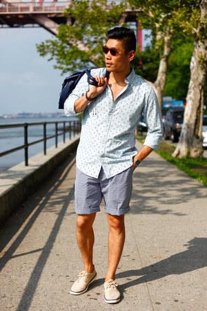 sky blue chambray JCPenney shirt - navy cotton JCPenney shorts