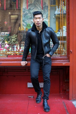 black leather gordon rush boots - black leather All Saints jacket
