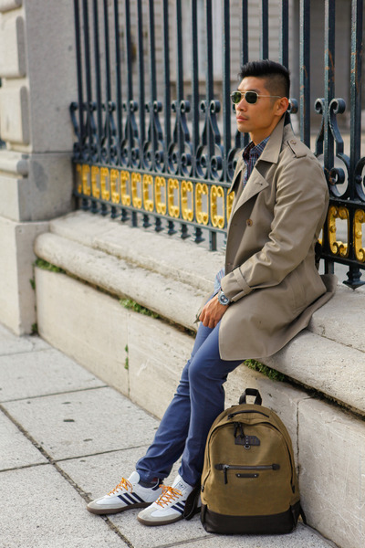 tan trench coat 31 Phillip Lim coat - blue Uniqlo jeans - sky blue merona shirt