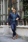 Turquoise-blue-printed-perry-ellis-shirt-navy-slim-perry-ellis-pants
