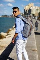 blue Vans sneakers - white Uniqlo jeans - sky blue JCrew shirt