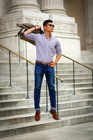amethyst gingham Jcrew shirt - brown wingtips Allen Edmonds shoes