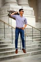 amethyst gingham Jcrew shirt - brown wingtips Allen Edmonds shoes