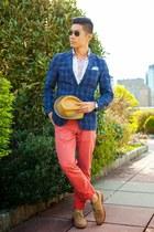 blue Uniqlo blazer - camel Cole Haan shoes - white Uniqlo shirt