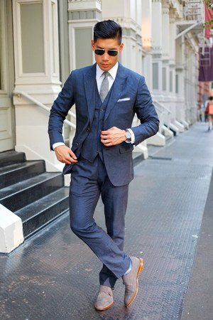 navy pinstripe Bonobos jacket - gray banana republic shoes