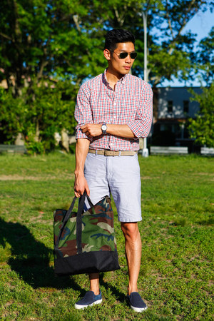 ruby red JCrew shirt - navy JCrew shoes - army green LL Bean bag