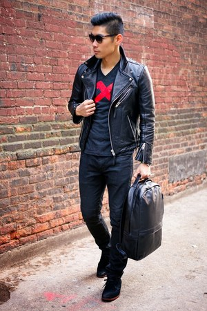 black gq Gap jeans - black leather H&M jacket