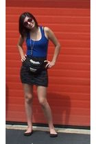 black thrifted accessories - black Forever 21 skirt - blue Forever 21 shirt - gr