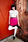 Black-charlotte-russe-skirt-pink-forever-21-skirt-white-wet-seal-tights-wh