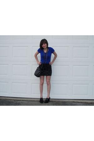 blue Charlotte Russe shirt - black Forever 21 skirt