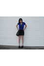 Blue-charlotte-russe-shirt-black-forever-21-skirt