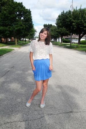 white American Apparel shirt - blue American Apparel skirt - beige Target shoes