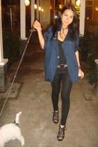 navy silky Vintage Versace blouse - black LnA leggings