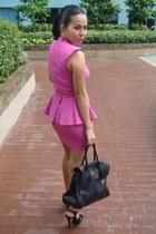 bubble gum asos dress - black bayswater Mulberry bag - black tribute YSL sandals