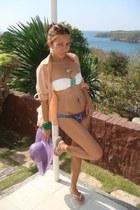 hat - Victorias Secret swimwear - Havaianas flats - Topshop blouse