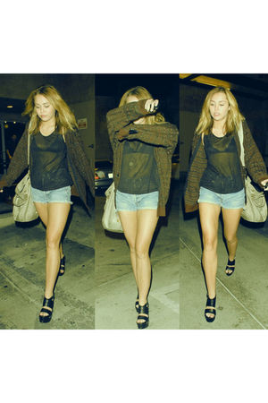 black blouse - black blazer - blue shorts - black shoes - beige bag - black bra
