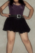 purple top - black skirt - black belt
