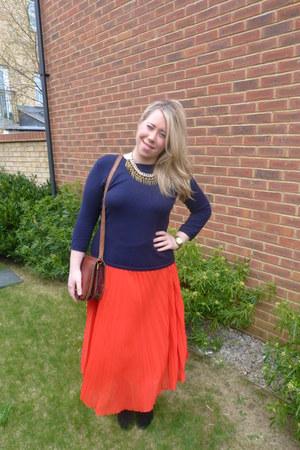 red whistles skirt - navy Zara jumper - navy Zara necklace