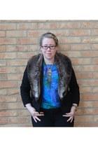 vintage from Ebay blouse - Zara jeans - River Island blazer