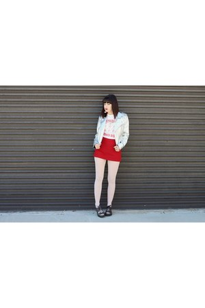 oxford Dr Martens shoes - pale pink HUE tights - red skort Zara skirt