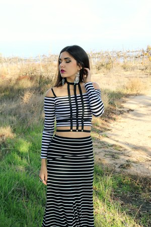 stripe MinkPink top - body harness accessories - stripe maxi skirt