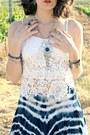 White-lace-top-tie-dye-luna-luz-skirt-born-sandals-silver-blue-necklace