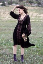 purple roper boots - embroidered free people dress - metal crystal resale bag